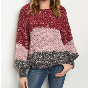 Sweaters - Colorblock Long Sleeve Soft Knit Sweater